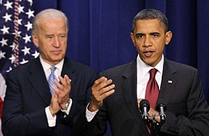 President Obama Speaking While VP Biden Applauds